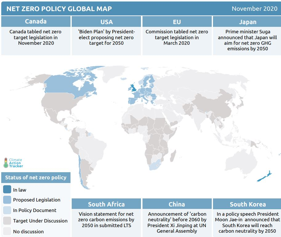 Net zero targets announced by 127 countries worldwide as of November 2020, from Climate Action Tracker.