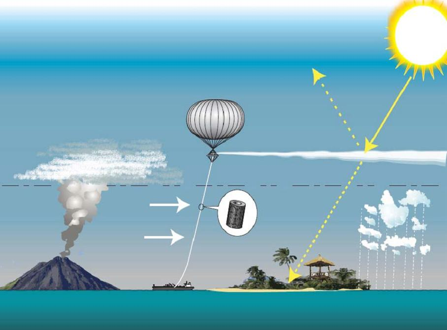 A tethered hose is another possible means to inject aerosols into the stratosphere.