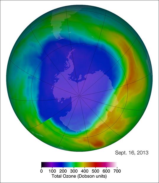 Ozone depletion over the south pole. Image: NASA's Goddard Space Flight Center