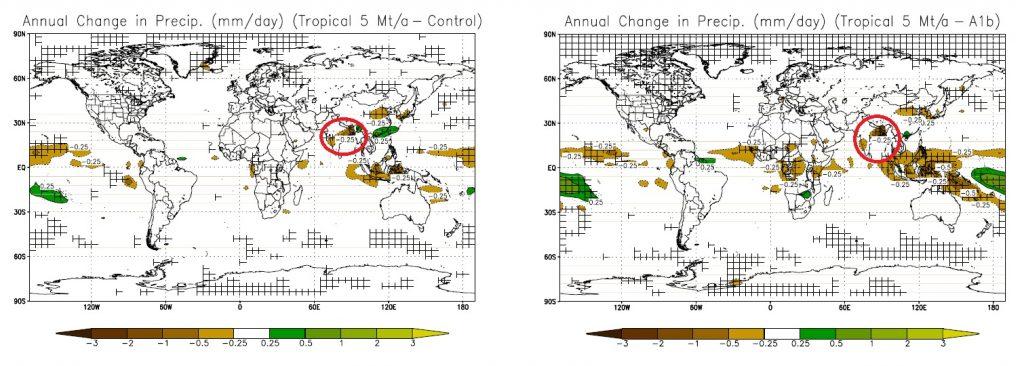 Robock et al 2008, tropical SO2 injection precipitation response